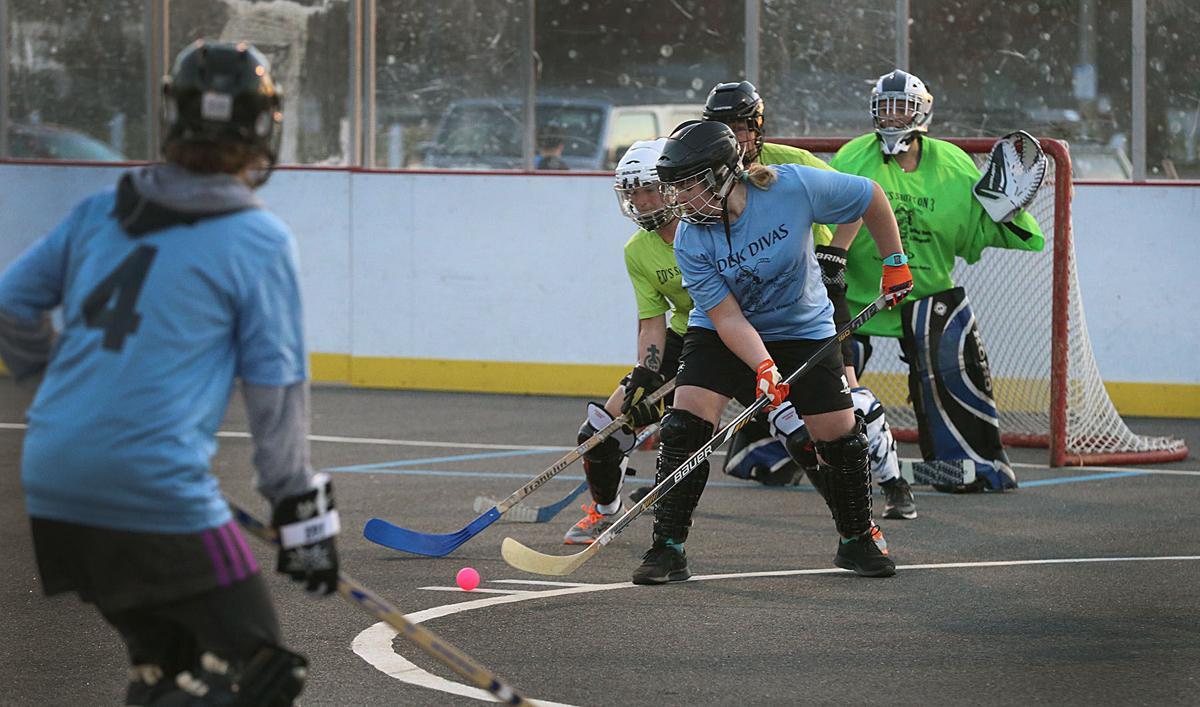 Women's Street Hockey League participants enjoy competition