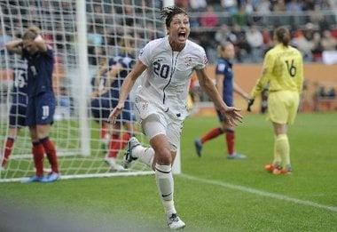 Abby Wambach scores against France