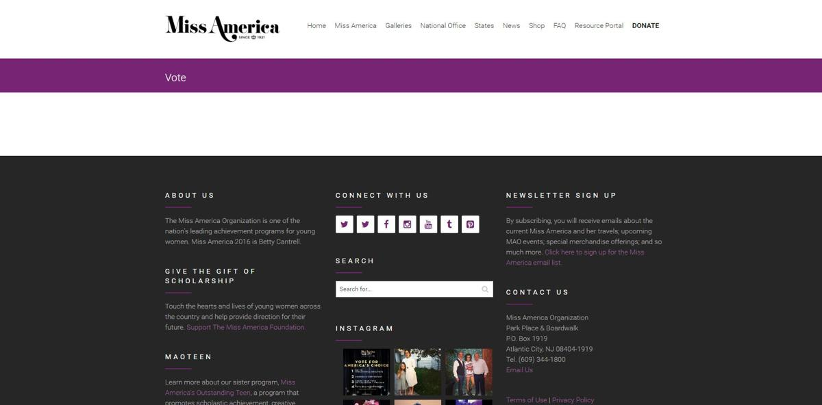 Miss America vote page