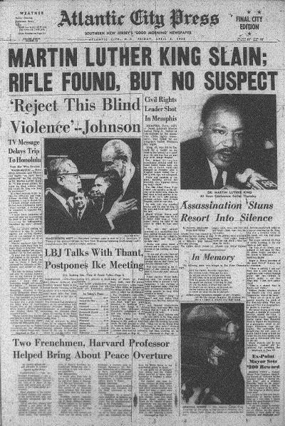 MLK assassinataion front page