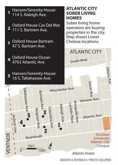 Sober Living resident homes Atlantic City map 8-2019