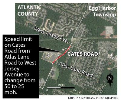 speed limit on Cates Road from Atlas Lane Road to West Jersey Avenue from 50 mph to 25 mph.