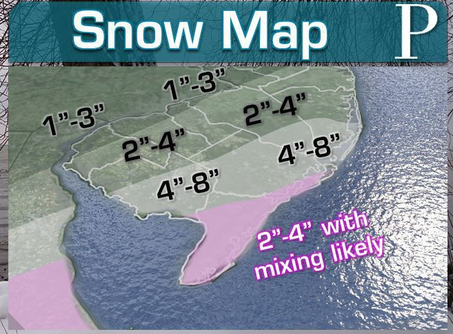 UPDATED: Snow Map for Saturday's System