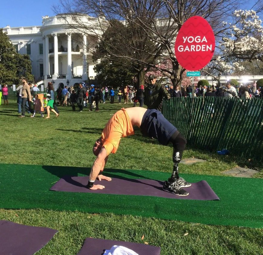 He lost his legs after an attack in Iraq. Now he's an international yoga instructor.
