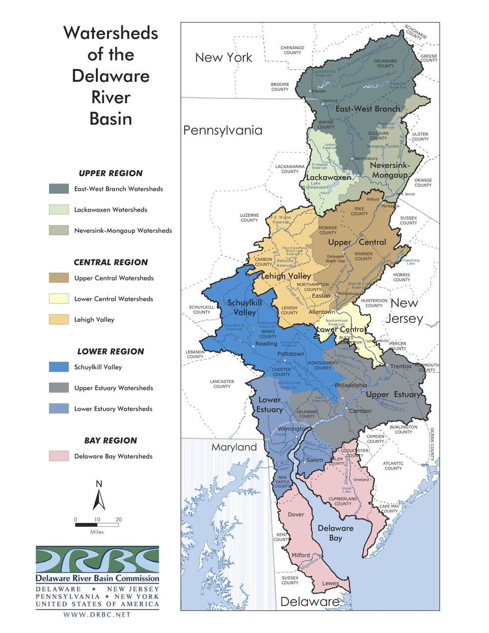 Map of sections of Delaware River Watershed