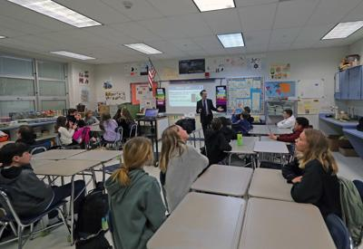 Meteorologist Joe Martucci at Middle Township Middle School