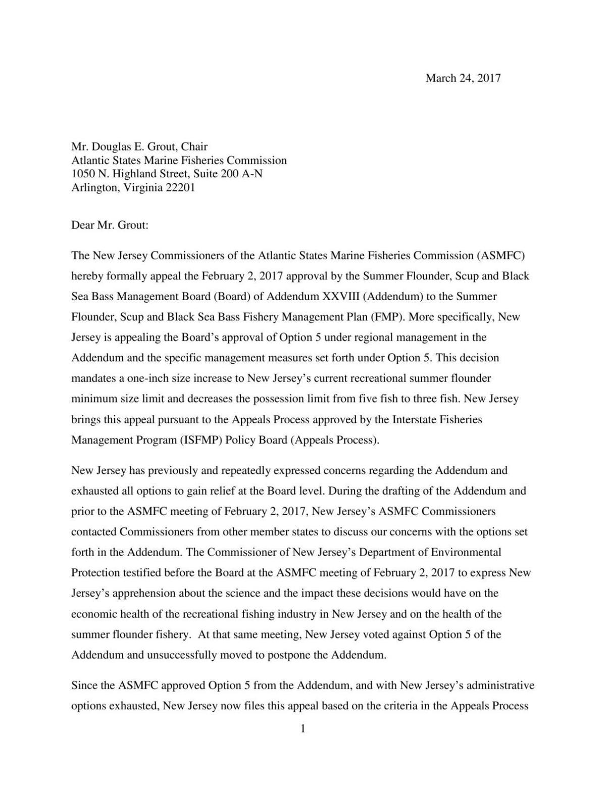 New Jersey Appeal Letter to the Atlantic States Marine Fisheries Commission