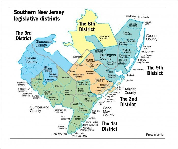 Redrawn Districts Give Candidates New Voters For New Jersey - Map of new jersey towns