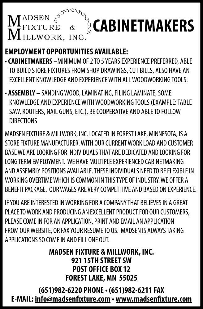 Madsen Fixture and Millwork.cabinetmaker