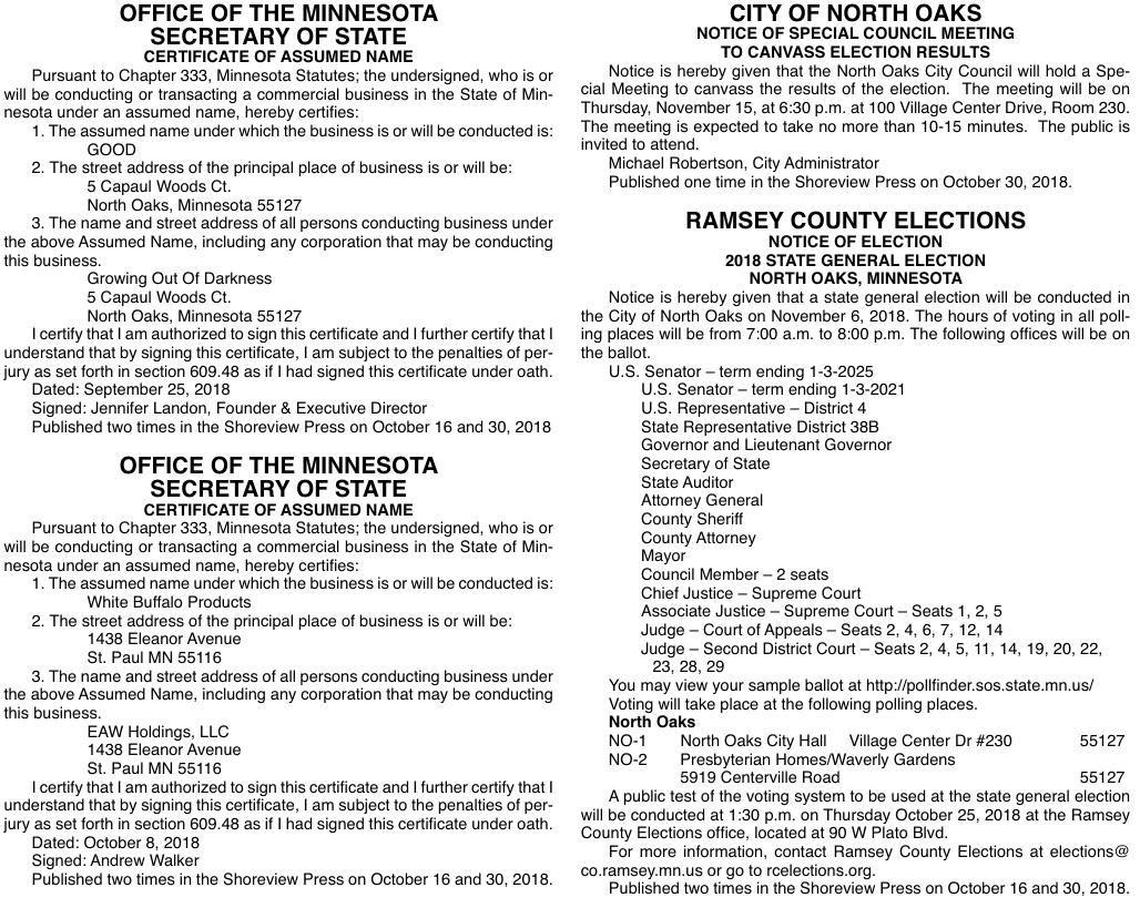 Legals SV 10-30-18