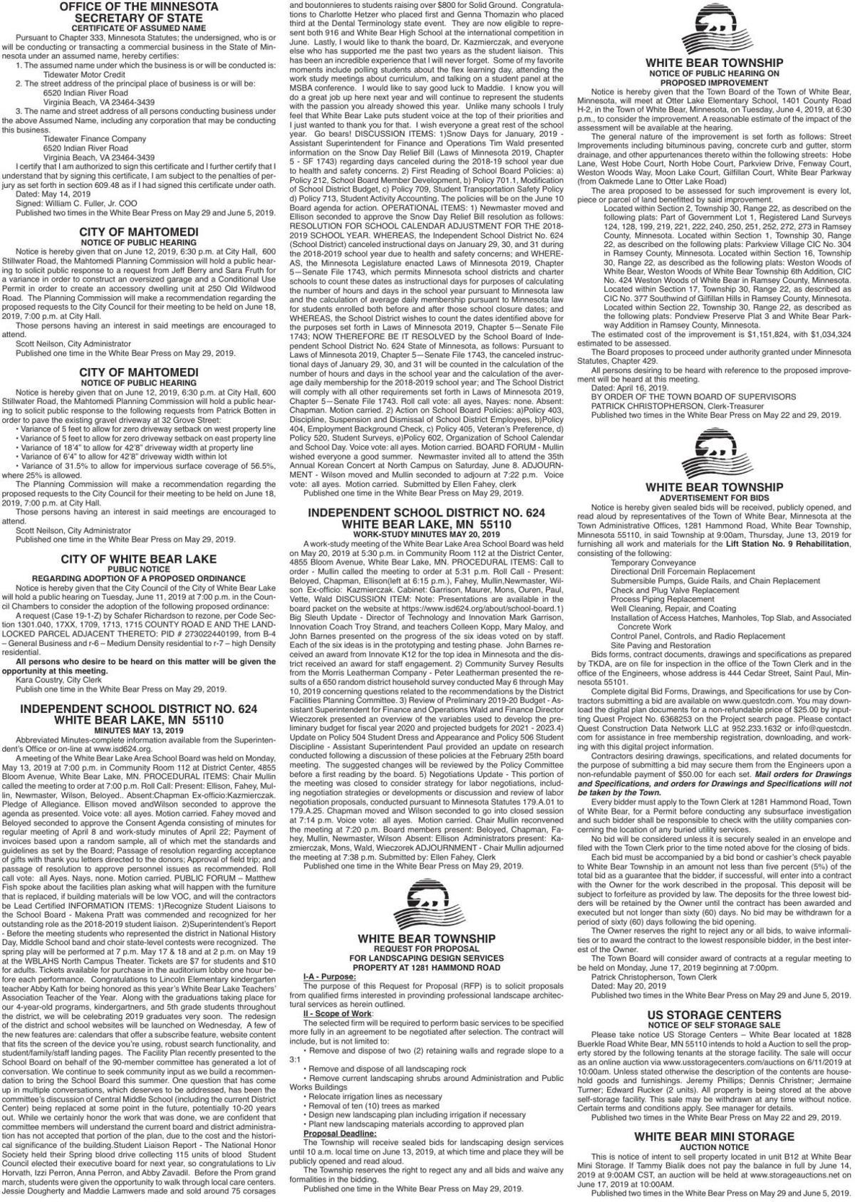 Legals WBVH 5-29-19