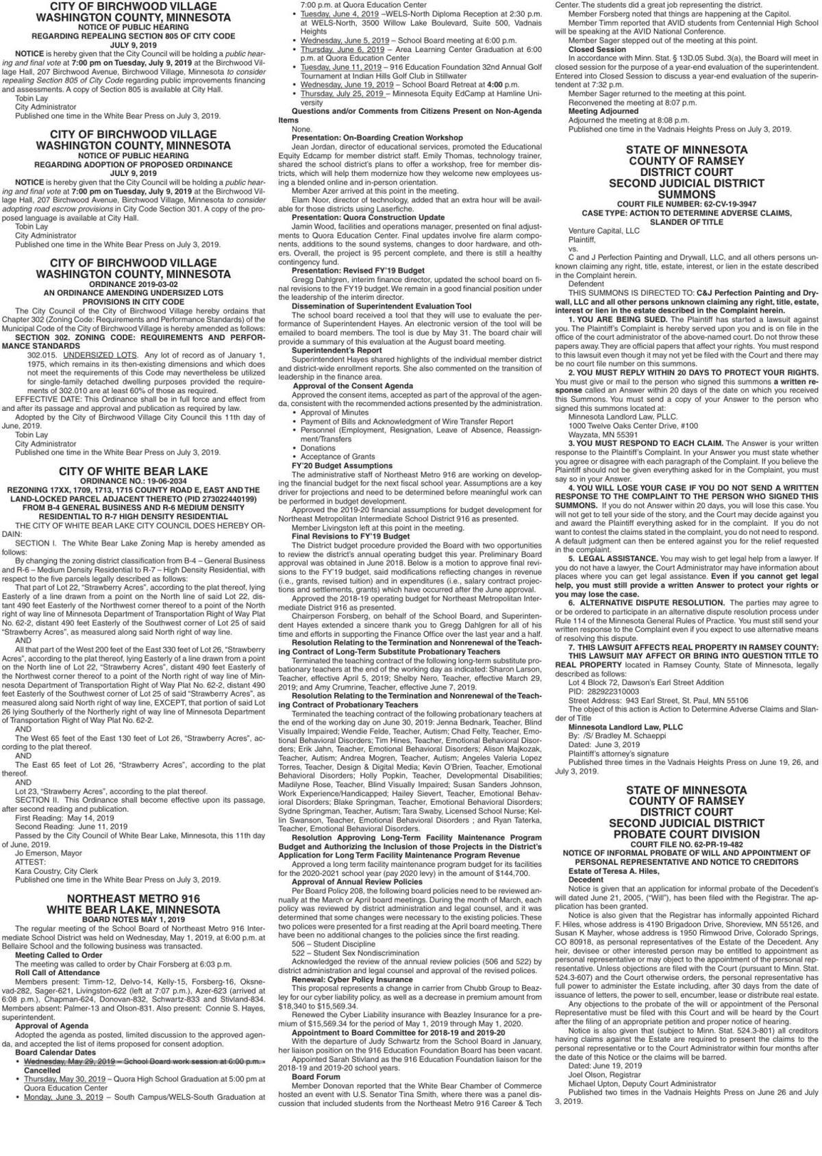 Legals WBVH 7-3-19