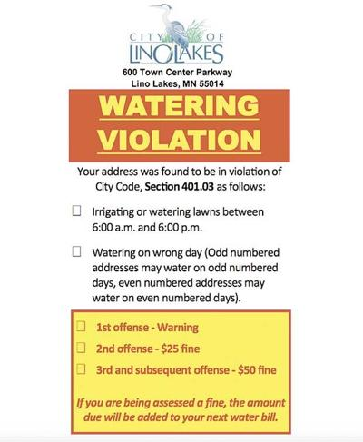 Lino Lakes cracking down on water restrictions