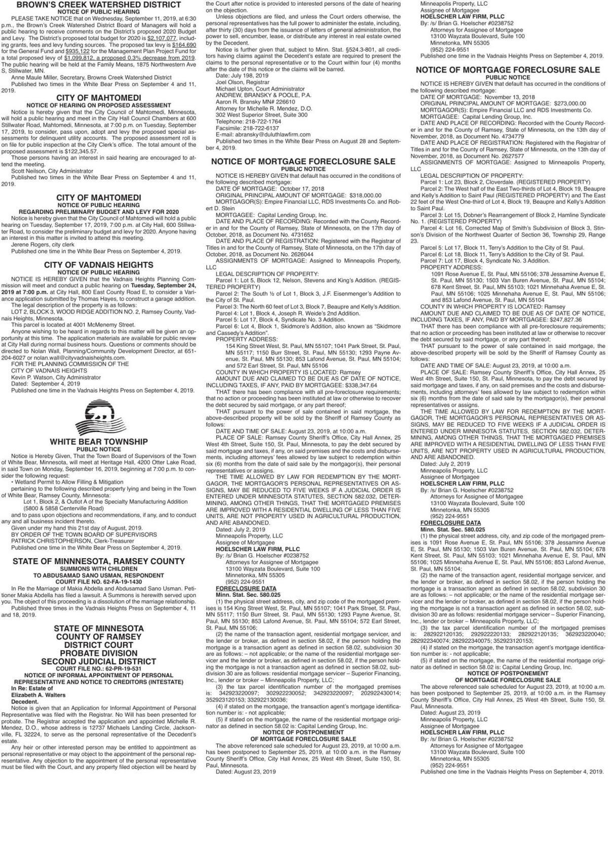 Legals WBVH 9-4-19