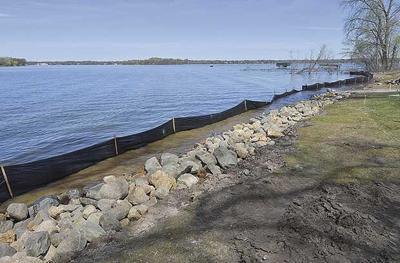 Erosion control happening at Bellaire Beach