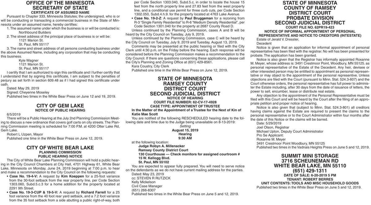 Legals WBVH 6-12-19