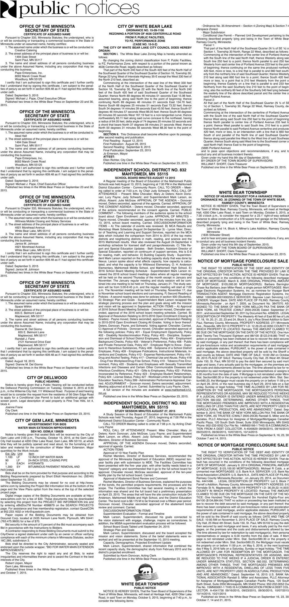 Legals WBVH 9-23-15