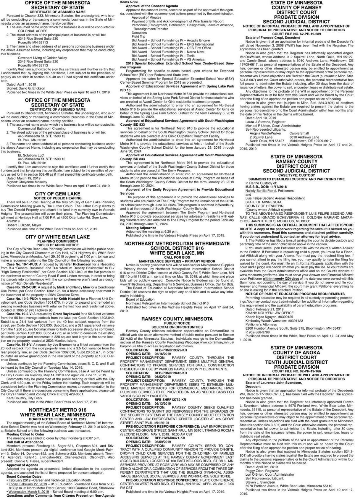 Legals WBVH 4-17-19