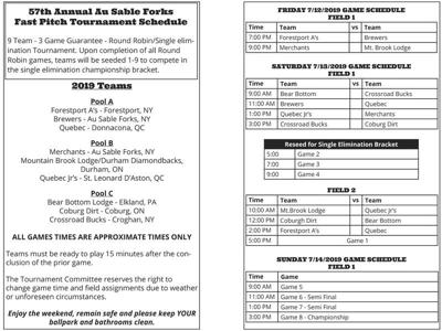 AuSable Forks Fast Pitch Tournament schedule