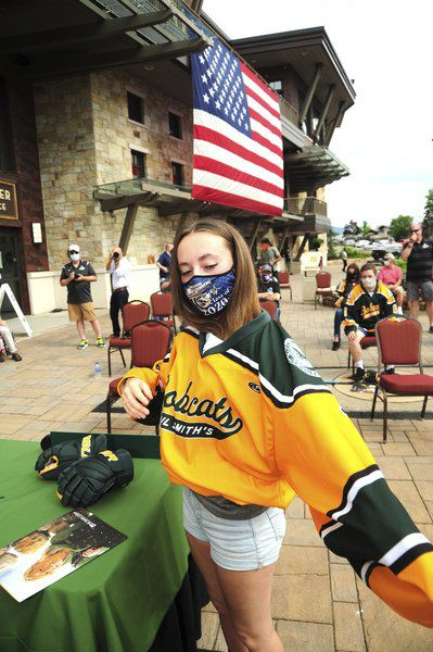 Paul Smith's women's hockey holds socially distant signing day