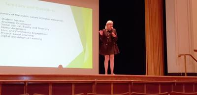 Nielsen de Abruna makes pitch to SUNY community