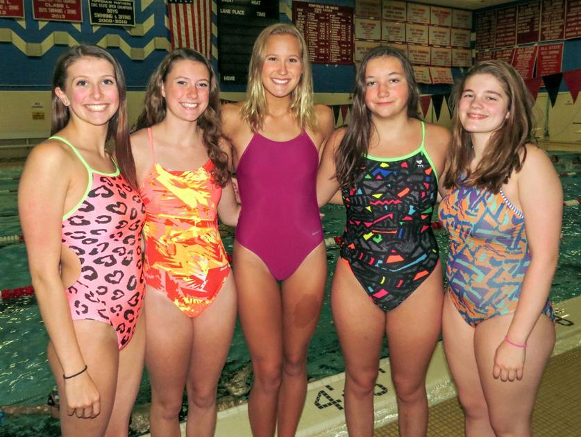 Nudists girls swim