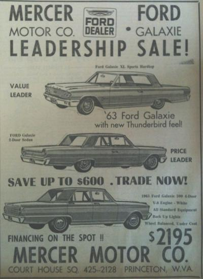 From the June 24, 1963 Archives - Mercer Motors Ad | Pieces