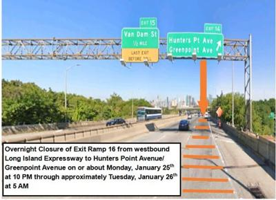 Overnight closure on westbound LIE Exit 16 Monday