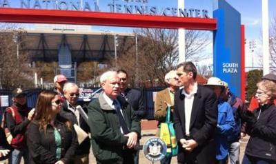 Civic leaders, Avella rally against USTA