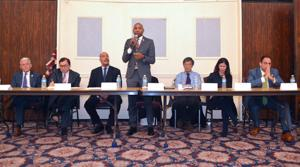 <p>City Council Deputy Leader Jimmy Van Bramer, left, former Senior Executive Assistant District Attorney James Quinn, police reform advocate and former sergeant Anthony Miranda, Councilmember Donovan Richards, community activist and map maker Danniel Sun Maio, former Councilmember Elizabeth Crowley and Councilmember Costa Constantinides gathered Jan. 15 to debate for the interim Queens borough president position.</p>