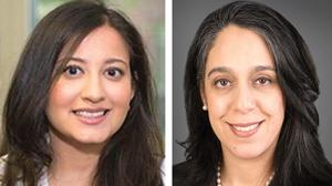 <p>Dr. Purvi Parikh, left, and Dr. Sherry Farzan point out that new treatments for asthma have become available.</p>