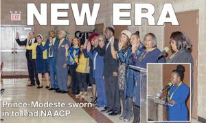 <p>Candace Prince-Modeste, inset, addresses the crowd after being sworn in as the new president of the Jamaica Branch of the NAACP. Officers and board members, above, also took their oaths in the ceremony at the Robert Ross Johnson Family Life Center in St. Albans.</p>