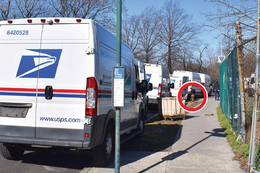 USPS blocks buses, parking, hydrants 1