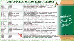 2019-20 Public School Year Calendar