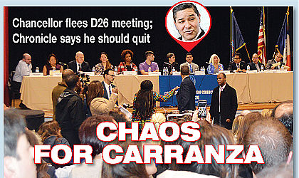 Angry D26 parents drive out Carranza 3