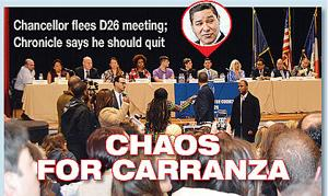 """<p>Schools Chancellor Richard Carranza left the Jan. 16 District 26 Community Education Council meeting early due to """"safety concerns"""" after parents</p><p>demanded answers on the reported sexual assault and physical bullying scandals at MS 158.</p>"""