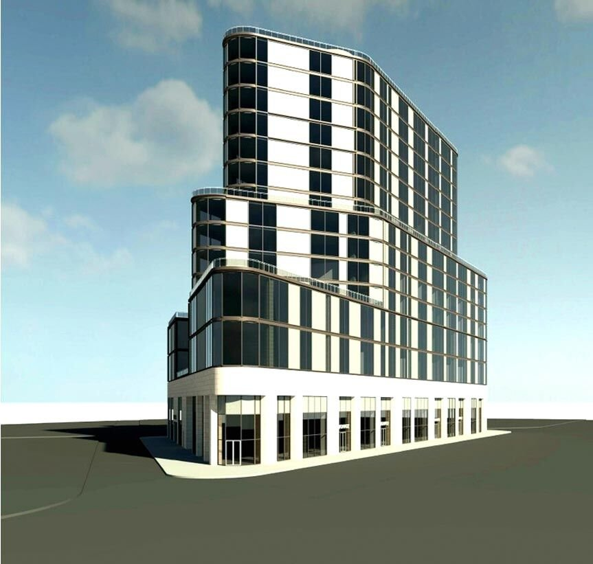 Sixteen-story glass building in the works 1
