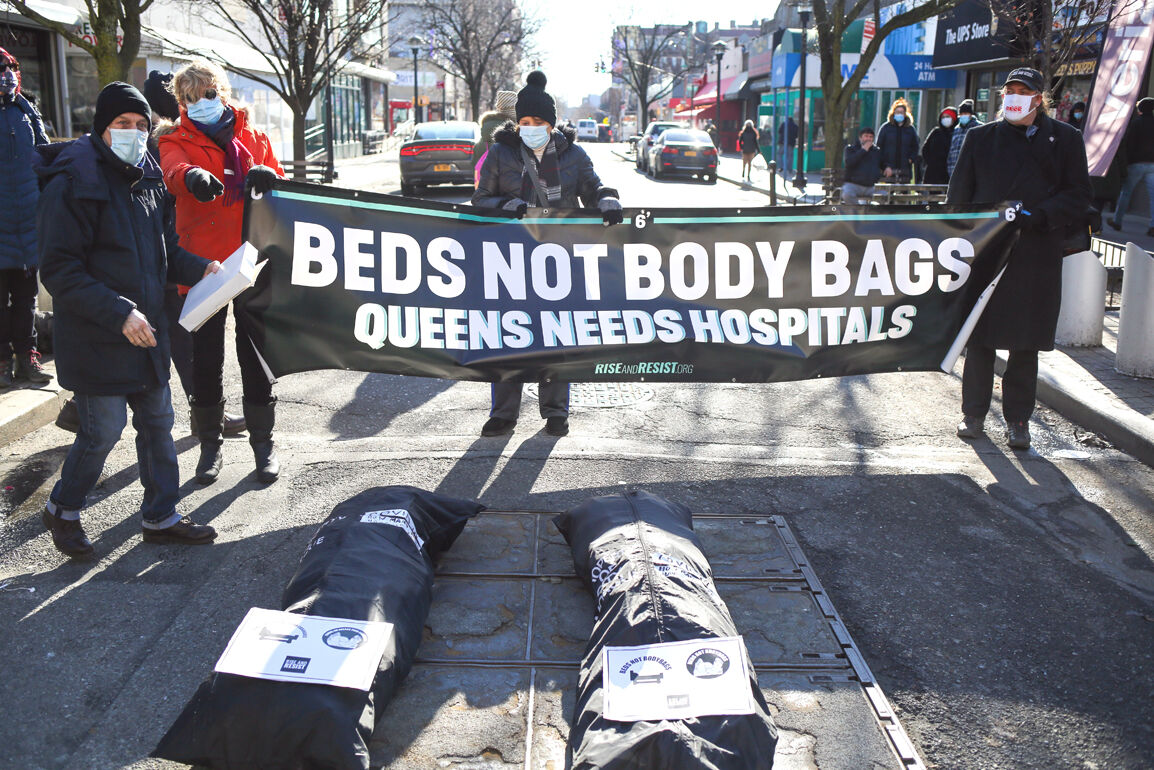 Protesting Queens' hospital bed shortage 1