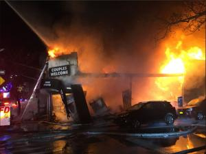 Five-alarm fire rips through Sunnyside