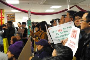<p>Protesters and supporters of the Special Flushing Waterfront District showed up to Community Board 7's Monday meeting to persuade members to vote in their respective favor, but the board ultimately voted 30-8 to approve the project.</p>