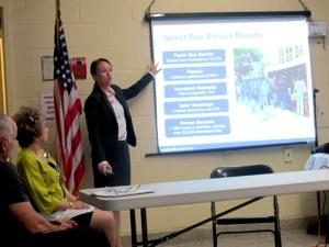<p>Taylor Reiss Gouge presented the DOT and MTA's plan for a dedicated bus lane along the Woodhaven-Cross Bay Boulevard corridor to the Howard Beach-Lindenwood Civic Association on Tuesday. Some members said it would create more traffic in the area.</p>
