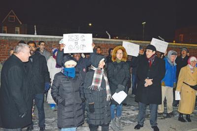 Dozens of residents, pols protest Peralta 1