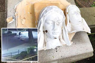 Vandal destroys FH church statues 1
