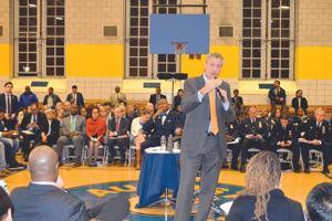 De Blasio talks the issues in Jamaica 2