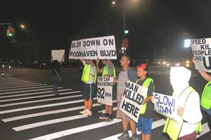<p>At the spot where a 56-year-old pedestrian was mowed down three weeks ago, demonstraters took their protest signs into the crosswalks at 11 p.m., with many of the accidents on the boulevard taking place at night.</p><p></p>