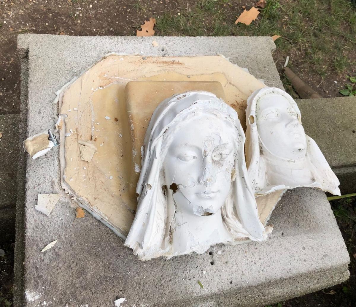 With video: Vandal destroys Forest Hills church statues