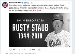 Rusty Staub, Mets legend, dies at 73
