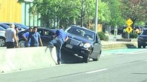 Another car hits Northern bike barrier 1