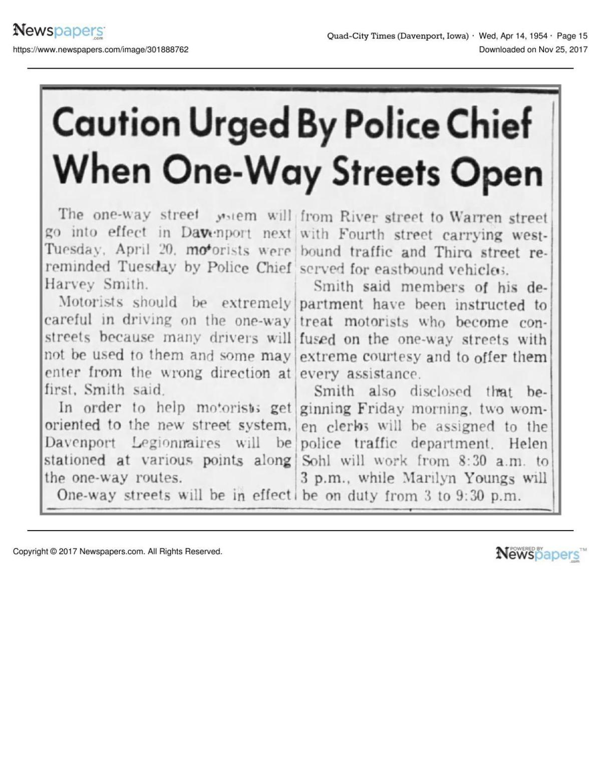 Caution Urged By Police Chief When One Way Streets Open