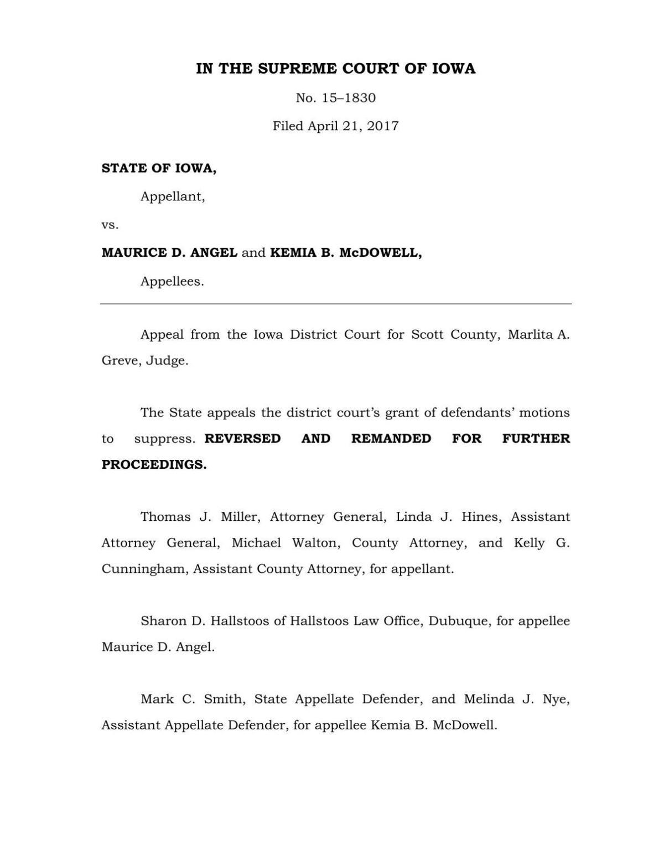 Iowa Supreme Court search warrant rulling | | qctimes com